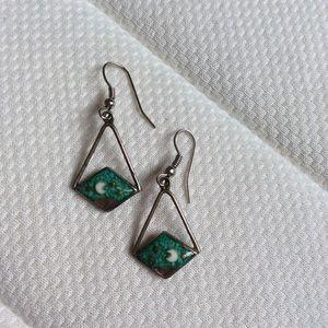 Vintage Jewelry - Sliver Moon Bohemian Stone Earrings